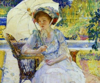 An intimation of caramels and ganaches sensed in the shade of a chapeau, shaded by an umbrella, shaded by a willow tree susurrating in France.